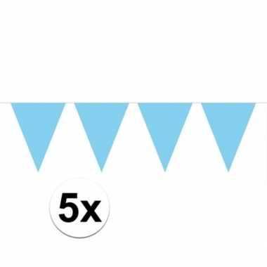 5x lichtblauwe vlaggenlijnen 10 meter