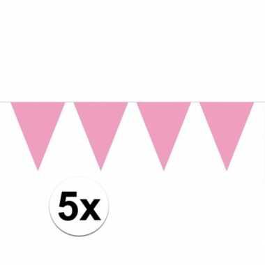 5x lichtroze vlaggenlijnen 10 meter