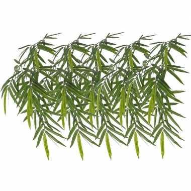 5x namaak bamboe kunstplanten tak groen 82 cm voor buiten/outdoor