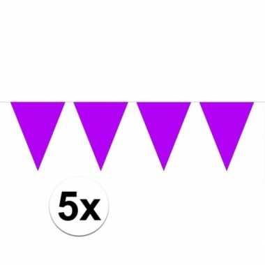 5x paarse vlaggenlijnen 10 meter