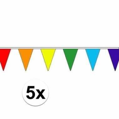 5x regenboog versiering vlaggenlijn 5 m