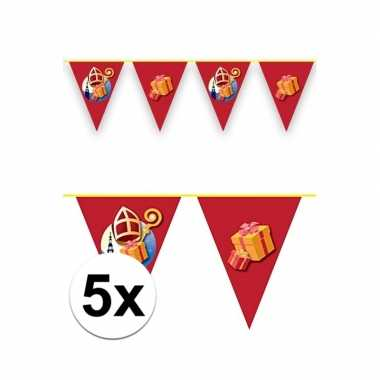 5x sint en piet vlaggenlijnen voor binnen en buiten