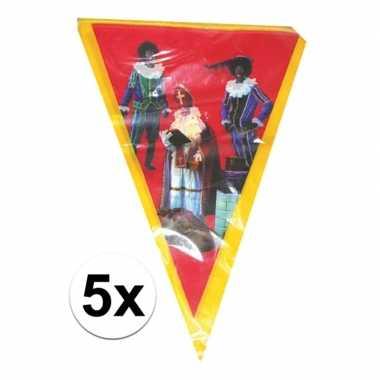 5x vlaggen slinger sint en piet 5 meter