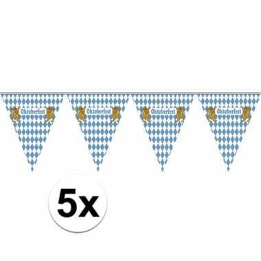 5x vlaggenlijnen oktoberfest van 5 meter
