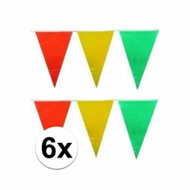 6x decoratie vlaggenlijn geel/rood/groen 10 meter
