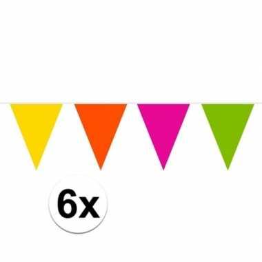 6x gekleurde slinger 10 meter