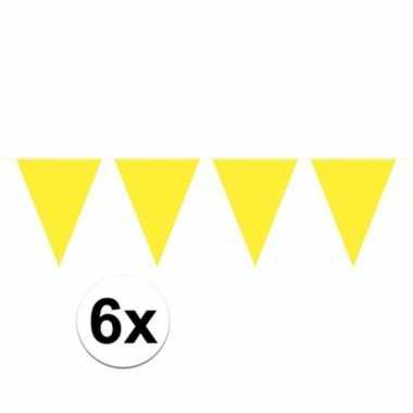 6x gele vlaggenlijnen 10 meter