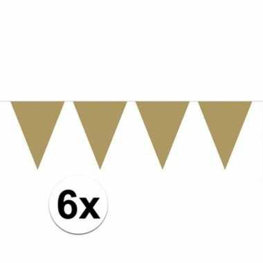 6x gouden vlaggenlijnen 10 meter