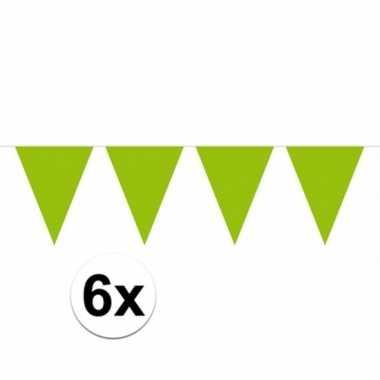 6x groene vlaggenlijnen 10 meter