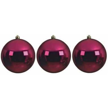 6x grote bessen roze kerstballen van 14 cm glans van kunststof