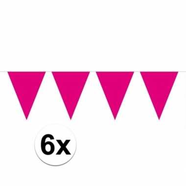 6x magenta roze vlaggenlijnen 10 meter