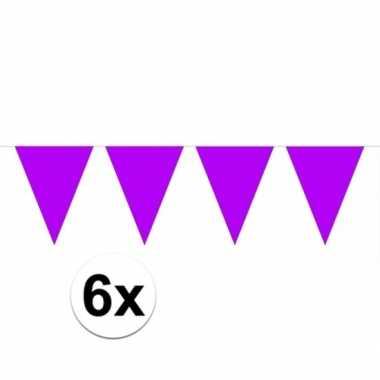 6x paarse vlaggenlijnen 10 meter