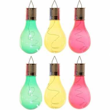 6x solarlamp lampbolletjes/peertjes op zonne-energie 14 cm groen/geel/rood