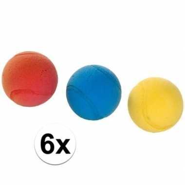 6x tennis/soft/foam balletjes buitenspeelgoed