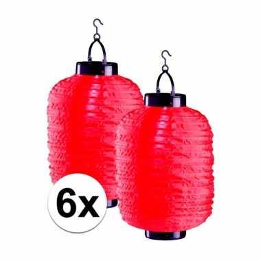 6x tuin / balkon lampionnen op zonne energie rood