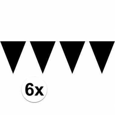 6x zwarte vlaggenlijnen 10 meter