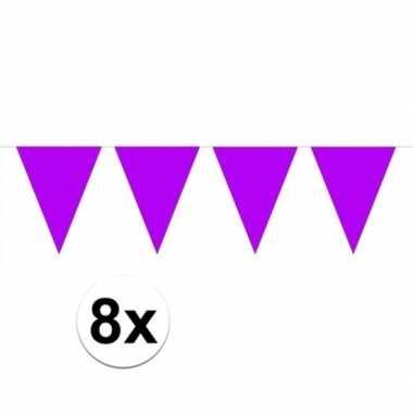 8 stuks groot formaat paarse slingers