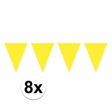 8x gele vlaggenlijnen 10 meter
