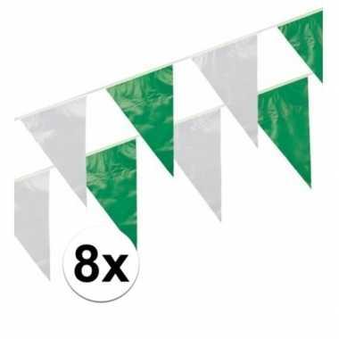 8x groen/witte vlaggenlijntjes 10 m