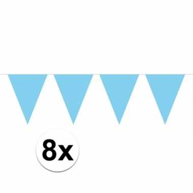 8x lichtblauwe vlaggenlijnen 10 meter