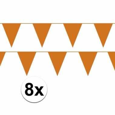 8x oranje vlaggenlijnen van plastic