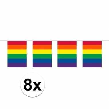 8x slingers in regenboog kleuren 10 meter