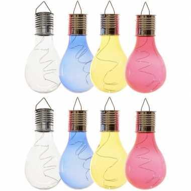 8x solarlamp lampbolletjes/peertjes op zonne-energie 14 cm transparant/blauw/geel/rood