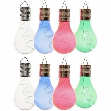 8x solarlamp lampbolletjes/peertjes op zonne-energie 14 cm transparant/blauw/groen/rood