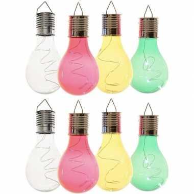 8x solarlamp lampbolletjes/peertjes op zonne-energie 14 cm transparant/groen/geel/rood