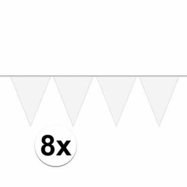 8x stuks 10 meter lange witte vlaggenlijn