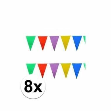 8x stuks gekleurde plastic vlaggetjes 10 meter