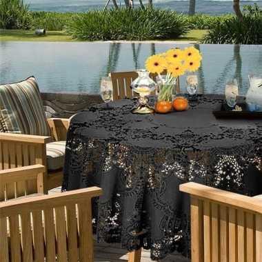 Antraciet grijs tuin tafellaken voor buiten 180 cm rond van kunststof