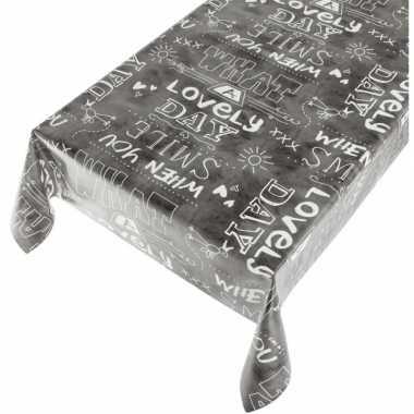 Antraciet tafellaken vrolijke tekst print 140 x 240 cm