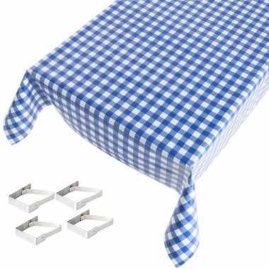 Blauw tuin tafellaken voor buiten ruiten print 140 x 245 cm pvc/kunst