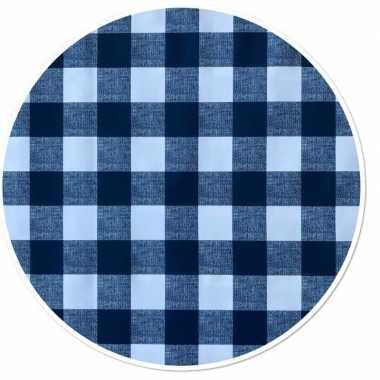 Blauw tuin tafellaken voor buiten ruitjes print 160 cm pvc/kunststof