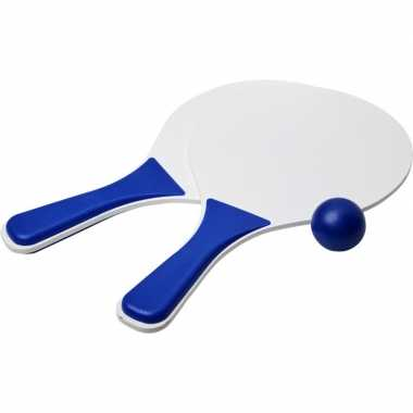 Blauw/witte beachball set buitenspeelgoed