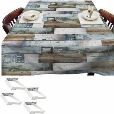 Blauwe tuin tafellaken voor buiten houten planken 140 x 250 cm pvc/ku