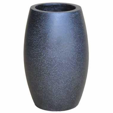Bloemenvaas/siervaas polystone ovaal zwart 28 cm