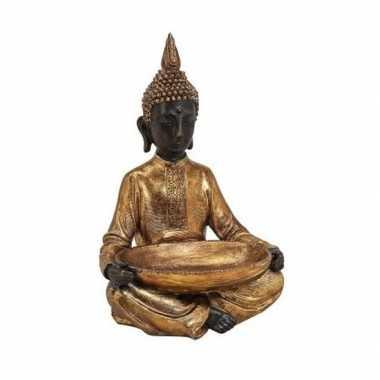 Boeddha decoratie beeld met schaal goud 37 cm