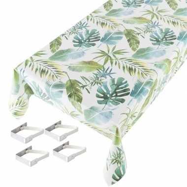 Botanische print tuin tafellaken voor buiten 140 x 245 cm pvc/kunstst