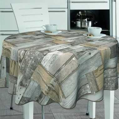 Bruin/grijs tuin tafellaken voor buiten houten plankjes print 160 cm