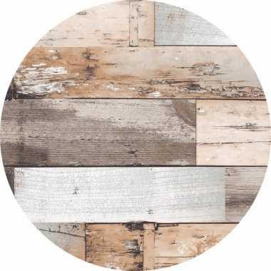 Bruin tuin tafellaken voor buiten hout print 160 cm pvc/kunststof