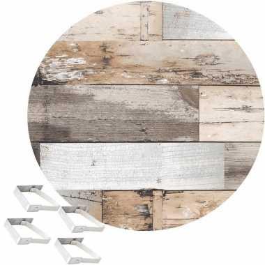 Bruin tuin tafellaken voor buiten hout print 160 cm rond pvc/textiel