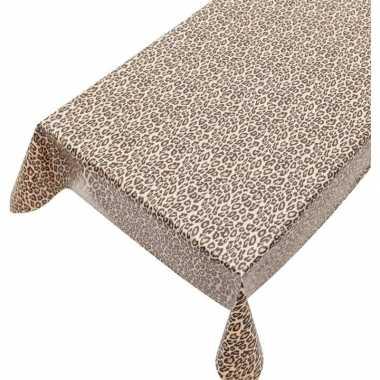Bruin tuin tafellaken voor buiten luipaarden vlekken print 140 x 240