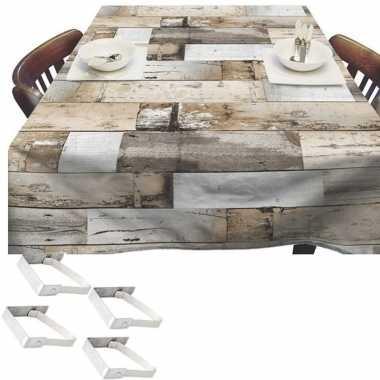 Bruine tuin tafellaken voor buiten houten planken 140 x 250 cm pvc/ku
