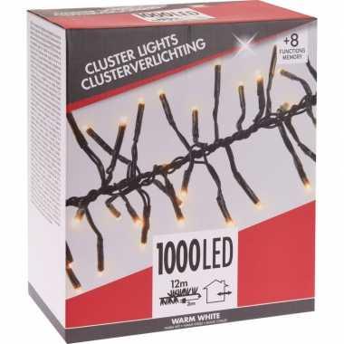 Budget kerstverlichting cluster warm wit 1000 lichtjes