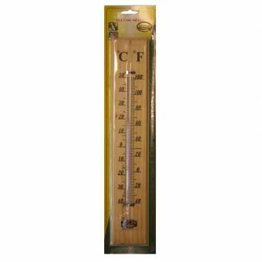Buiten thermometer hout 40 x 7 cm