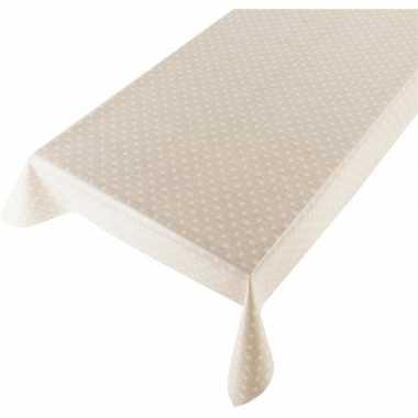 Creme tuin tafellaken voor buiten polkadot stippen print 140 x 240 cm