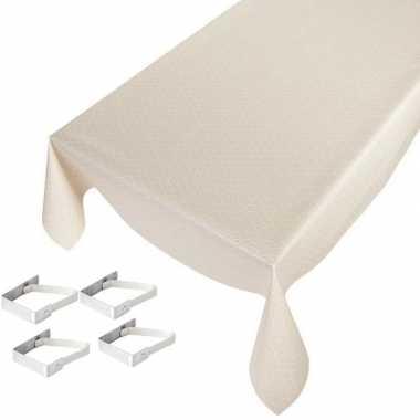 Creme tuin tafellaken voor buiten schubben print 140 x 245 cm pvc/kun