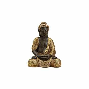 Decoratie boeddha beeld bruin/goud 42 cm